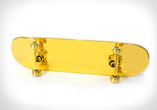 A Fully Funcitonal, Gold-Plated Skateboard