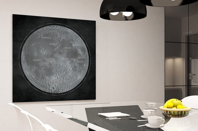 Detailed Print of NASA's Lunar Landings