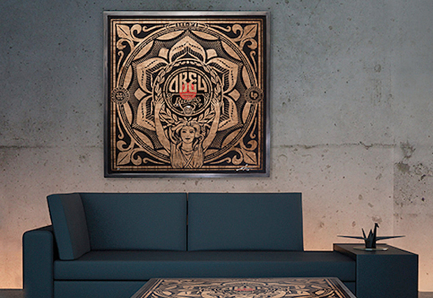 Shepard Fairey x Prints On Wood Coffee Table Art Piece